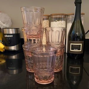 Other - Set of 6 decorative glasses with pink hue